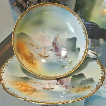 RS Prussia Cup and Saucer Demitasse Old Man and the Mountain Wreath Star Mark Art Nouveau Victorian Era German Porcelain Rare Hard to Find