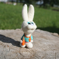 Felted rabbit- felt bunny - green - back to school - needle felted animal