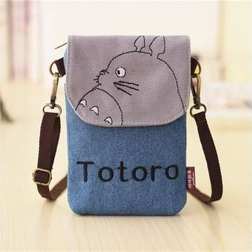 Fashion Women My Neighbor Totoro Canvas Wallet Bag Cute Coin Purse Cell Phone Case Mobile Mini Cross-body Shoulder Bag Gifts 9 Colors [8833932812]