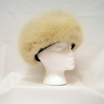 Fox Fur Hat Vintage White Arctic Fox Fluffy by voguevintage