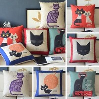 Cartoon Cute Cat Animal Decorative Cotton Linen Pillow Case Cushion Cover from Crazy Cats