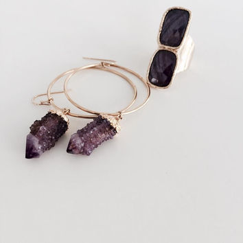 Purple Amethyst Spirit Quartz Crystal Hoop Earrings