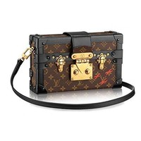 DCCK LV Women Shopping Leather Louis Vuitton Monogram Canvas Petite Malle Leather Strap Handbag Article: M40273 Made in France