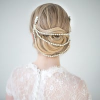 Wedding Hair Accessory, Pearl Hair Wrap, Bridal Comb