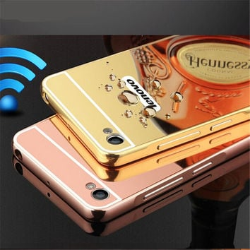 Luxury Mirror Hybrid case For Lenovo S90 S90t hard Aluminum Metal Protective back cover For Lenovo S90 S 90 phone housing shell
