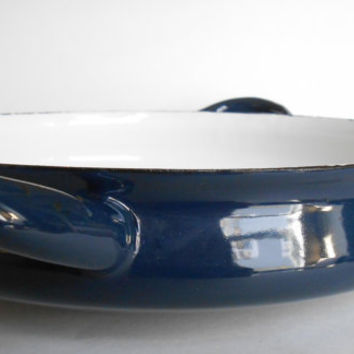 Dansk Jens Quistgaard Enamel Paella Pan Pot Blue Buffet Server