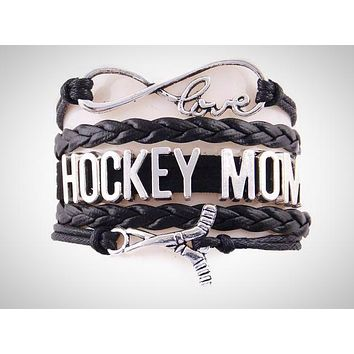 Love HOCKEY MOM Leather Bracelet-Red, Black