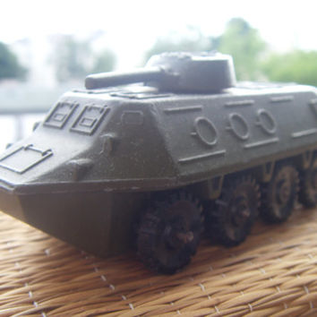Soviet Vintage Car Military Toy Amphibian Vehicle Collectable Toy Made of Metal in USSR in 1978.