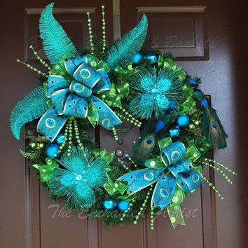 Christmas Wreath -Blue And Green Peacock Christmas Wreath - Holiday Wreath - Evergreen Wreath, Christmas Decor