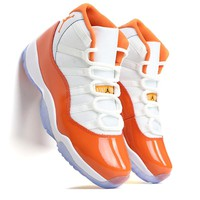 Air Jordan 11 Basketball Shoes White Orange Winter Shoes Hot Warm Outdoor Sport Shoes Cushion Sneakers New Color