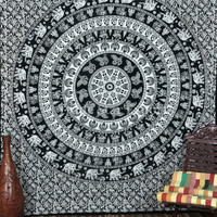 MANDALA Elephant Wall Tapestries, Boho Beach Blanket, Black and White Tapestry, Indian Wall Hanging, Hippie Bedding, Large Wall Art