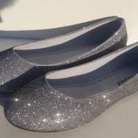 New Women Ballet Flats Glitters Shoes, Black & Silver, 6 to 10 ( TRUE SIZE)