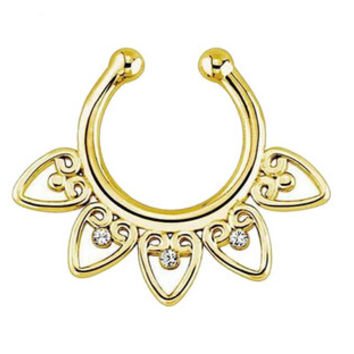 Fake Septum Clicker Non Piercing Hanger Clip On Jewelry Alloy Heart Nose Hoop Nose Rings S Body Piercing Jewelry SM6