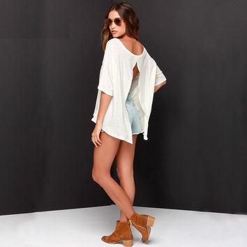 White Sleeve Split-Back Shirt