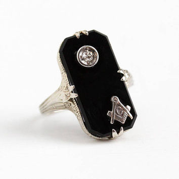 Vintage Mason Ring - 14k White Gold Art Deco Black Onyx & Diamond Signet - 1920s Size 4 1/4 Fraternal Freemason Letter G Flower Fine Jewelry