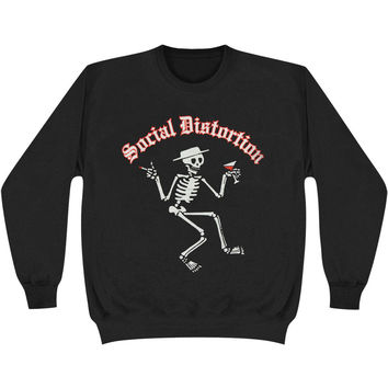 Social Distortion Men's  Skeleton Sweatshirt Black Rockabilia