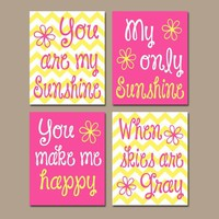 You Are My SUNSHINE Wall Art, Hot Pink Yellow Sunshine Chevron CANVAS or Prints Nursery Rhyme, Baby Song Decor  Set of 4 Girl Bedroom Decor