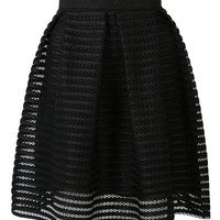 Black Mesh Stripe Mini Skirt