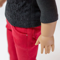 "Red skinny jeans for American Girl and other 18"" dolls"