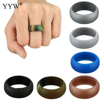 10PC Size 5-13 Silicone Ring Rubber Multi Color Hypoallergenic Crossfit Flexible Ring Band Wedding Engagement Rings for Women