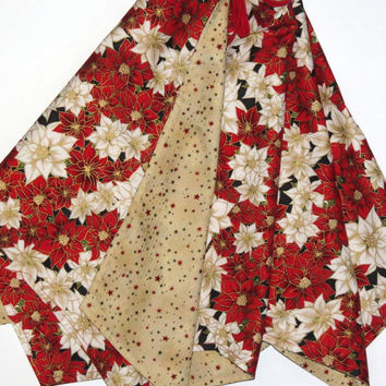Christmas Tree Skirt, Reversible, Red and Ivory Poinesttias and Red, Green and Gold Stars