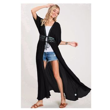 Classy and Sassy Lace Waist Line Black Duster