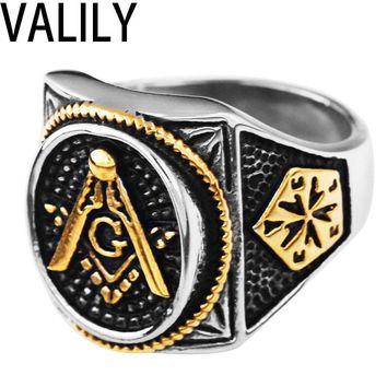Valily Jewelry Men Gold Plating Mason Signet Ring Men's Stainless Steel Freemason Masonic Rings fashion Party ring Jewelry