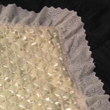 Heirloom Quality Baby Blanket Crochet Quilt Decorated With Eyelet, Ribbon and Broderie Anglaise Edging