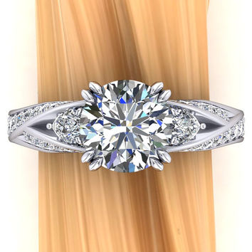 Platinum Diamond Engagement Ring, 2 Carat 3 Stone Ring with Interwoven Shank Design - Free Gift Wrapping