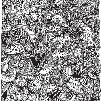 Black and white zentangle inspired art, Detailed rectangle, b&w doodle Art Print by /CAM