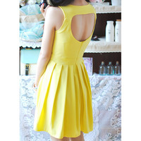 Bqueen Heart Cut Out Back Yellow  Dress TD007Y