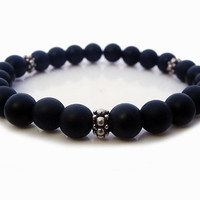 Men's Matte Black Onyx and Sterling Silver Bracelet, Men's Black Onyx and Silver Bracelet with Bali Sterling Silver Granulation Spacer Beads