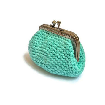 Crochet Framed Coin Purse, Frame Coin Purse, Green Coin Purse, Coin Purse Fabric Inside, Little Coin Purse Crochet, Woman Wallet Crochet