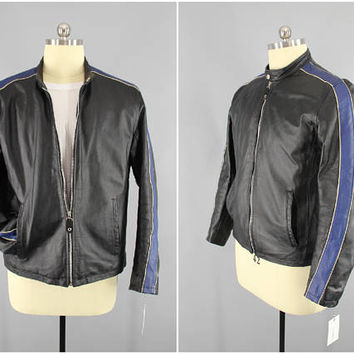 1990's Vintage / Wilson's Leather / Cafe Racer / Motorcycle Jacket / M. Julian / Black Leather / Blue Stripe / Nylon Lined / Size Large / 40