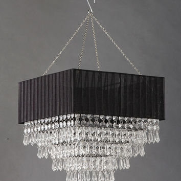Black Fabric Square Clear Beaded Chandelier
