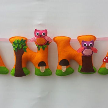 Owls Themed Felt Name Banner,nursery decor - MADE TO ORDER