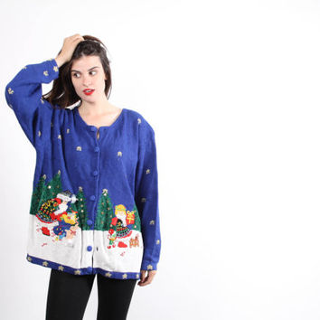Ugly Christmas Cat Sweater - Vintage Ugly Christmas Sweaters - UC72