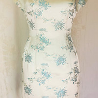 Vintage 1960s Satin Asian Print Wiggle Dress