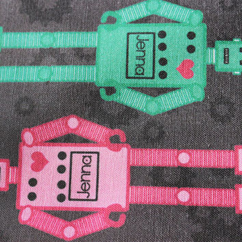 Custom Personalized Robot Fabric with your child's name, in a choice of colors, for nursery decoration, quilts, throw pillows, curtains, etc