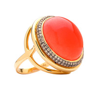 Mogul Yellow Gold Coral Champagne Diamond Ring