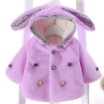 Baby Coat Winter Warm Coat Lovely Solid Fashion Kids Baby Girl Jackets Girls Children Clothing Rabbit Hat Costume DW935101