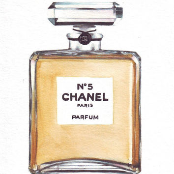 HM092 Original art watercolor painting Coco Chanel no5 perfume bottle by Helga McLeod
