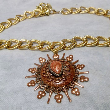 Gold Stone Sunburst Pendant, Necklace, Chain, Copper 1950's, Mid Century, Estate Jewelry, Costume Jewelry Pendant, Necklace, Jewellery,