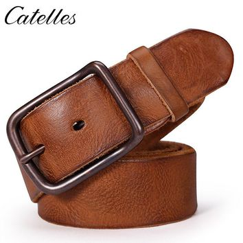 Catelles Male belt Cow strap male Genuine Leather vintage men's belts Pin Buckle Designer Belts For Men leather belt men 6010