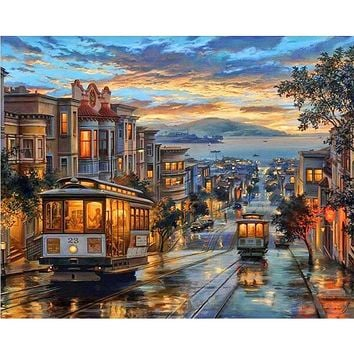 No Frame Romantic City Night DIY Painting By Numbers Abstract Picture Modern Wall Art Canvas Painting Unique Gift For Home Decor