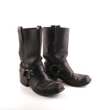 Black Harness Boots Vintage 1970s Sears Leather men's size 9 1/2