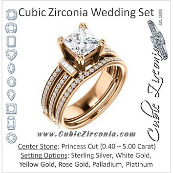 CZ Wedding Set, featuring The Kaitlyn engagement ring (Customizable Princess Cut with Flanking Baguettes And Round Channel Accents)