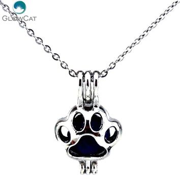 K445 Silver Alloy 22mm Lovely Bear Footprint Steel Necklace Beads Stone Cage Aroma Essential Oil Diffuser Locket