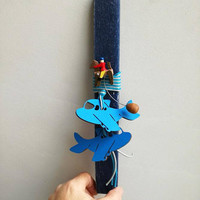 Airplanes Easter candle, blue aeroplanes Easter candle for boys, wooden plane charms on blue candle, Easter candle for boys and baby boys