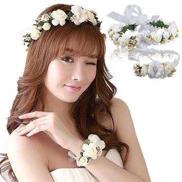 Fasthshipping bride wedding wreath head flowers wrist flower corsage flower girl hair accessories Kid party Flower crown & wrist